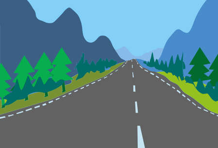 Digital illustration of country asphalt road with white lines perspective leading straight through mountains and trees