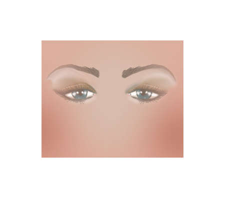 Digital illustration of partial face with beautiful dark blue eyes with sad expression