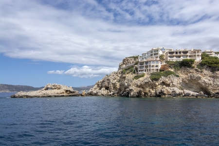 Coastal landscape sea view with islands, Mediterranean water and horizon outside Santa Ponsa, Mallorca, Spain. 写真素材