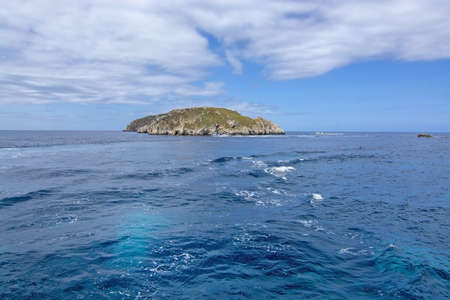 Coastal landscape sea view with islands, Mediterranean water and horizon outside Santa Ponsa, Mallorca, Spain. 写真素材 - 127062772