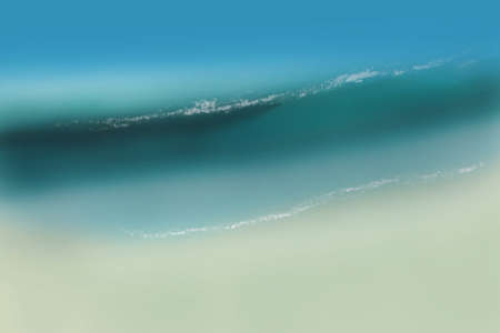 Illustration aerial view of wave hitting sandy beach in tropical clear colors turquoise and blue.