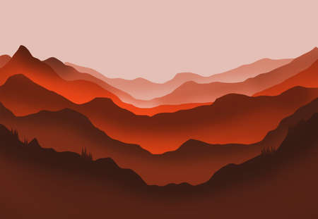 Digital illustration of mountains and trees in red glow 写真素材