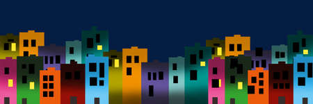 Digital illustration of city colourful buildings at night with dark and light in windows
