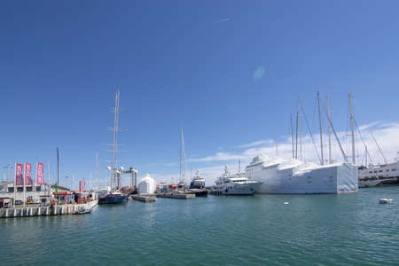 PALMA, MALLORCA, SPAIN - MAY 20, 2019: Old Palma harbor Moll Vell with moored large yachts and vessels on a sunny day on May 20, 2019 in Palma, Mallorca, Spain. Editorial