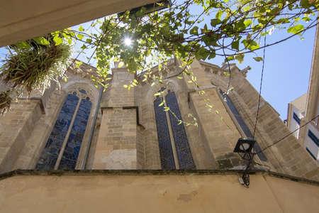 Basilica Sant Francesc detail against sky in Palma, Mallorca, Spain.