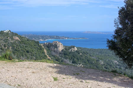 Beautiful landscape over macchia vegetation and archipelago in Sardinia, Italy in March. 写真素材