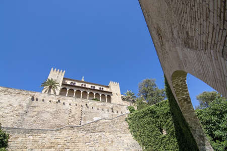 Almudaina palace view with vault in Palma de Mallorca, Spain.