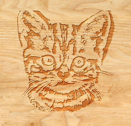 inlay: Burning wood inlay cat