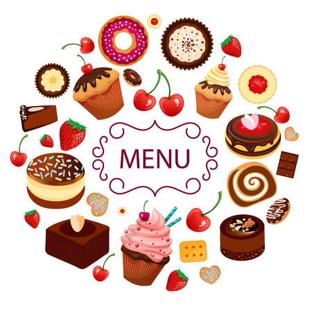 sweet desserts pastry cakes icons vector restaurant