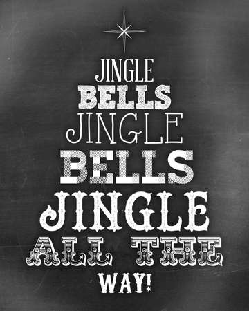 christmas tree jingle bells slate chalkboard Stock Photo