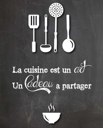 引用がスレートの台所レストラン レトロなビンテージ デザイン表示されます。 写真素材