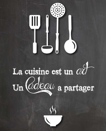 citation: citation appears slate kitchen restaurant retro vintage design Stock Photo