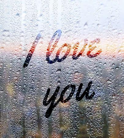 declaration of love: Display I love you love love rain valentines day Stock Photo