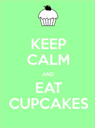 keep calm and eat cupcakes illustration shows British crown Stock Photo