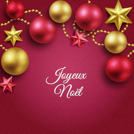 Merry christmas red balls golden christmas star garland Standard-Bild