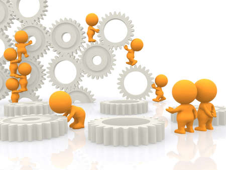 People teamwork 3d orange bearings Stock Photo - 34248121