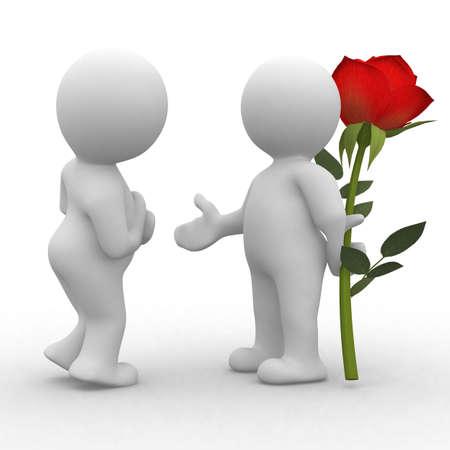 La gente 3d picto fiore amore Archivio Fotografico - 34248122