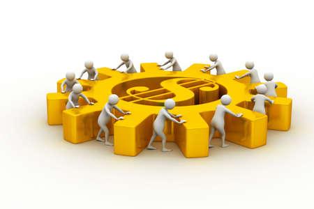unreliable: 3d people push the dollar wheel team work Stock Photo