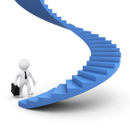 3d man picto motivation blue stairs Stock Photo - 34249123