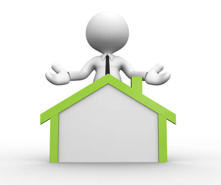 3d people picto white house green real estate photo