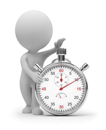 3d small people start pressing the button on a stop watch. 3d image. Isolated white background. Clipping path included.