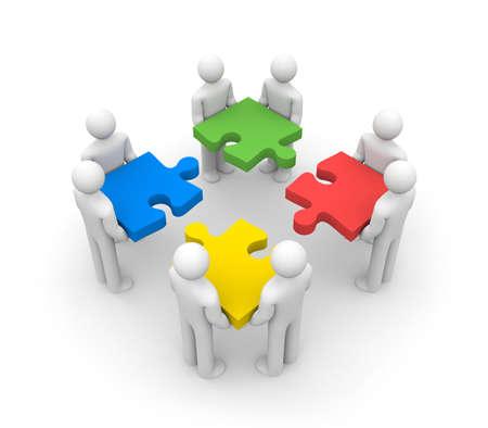 ビジネス概念 3 d 人チームワークをパズルします。