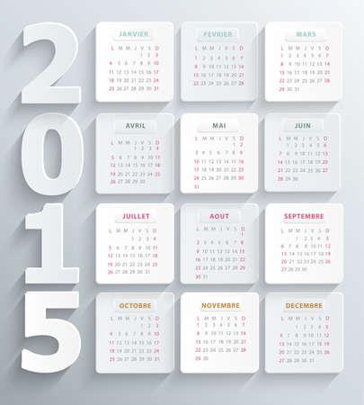 calendario escolar: Calendario francés 2,015 agenda alivio moderno 3d Foto de archivo