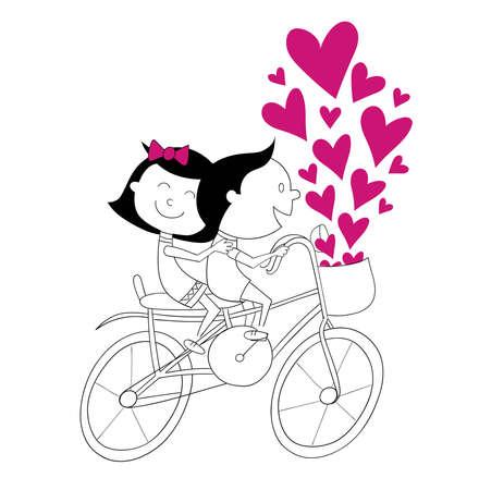 ni�os en bicicleta: Corazones bicicleta de los ni�os - ilustraci�n