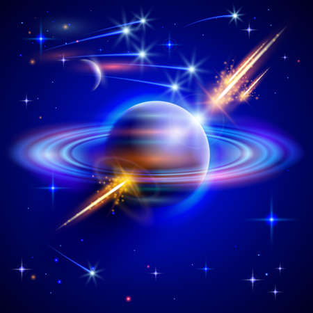 deep space: Space planet blue nebula