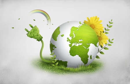 small group of objects: Earth planet green eco with flowers Stock Photo