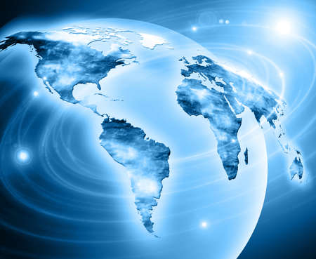 global communications: Digital globe interactive world