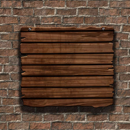 3D render of a grunge wood sign on an old brick wall Stock Photo