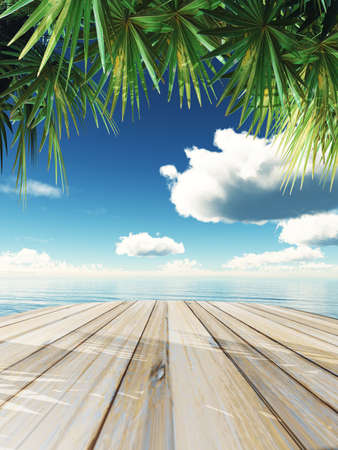3D render of a wooden table looking out to tropical ocean Stock Photo