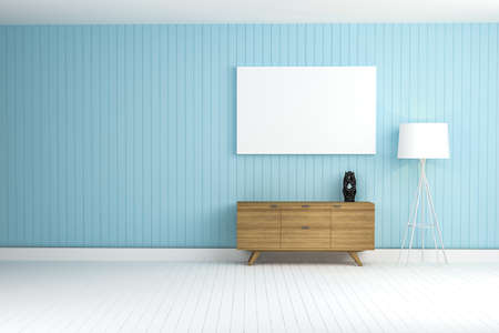 wood cabinet in blue wall living room 3d rendering