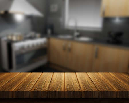 3D render of a wooden table with a kitchen in the background Stock Photo