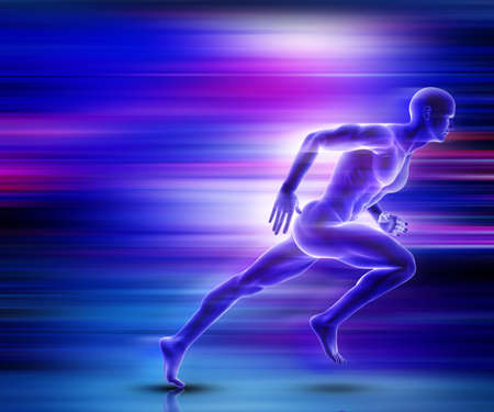 3D render of a male figure sprinting with motion effect Stock Photo
