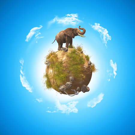3D render of a conceptual image with an elephant on a globe with rocks and grass Stock Photo