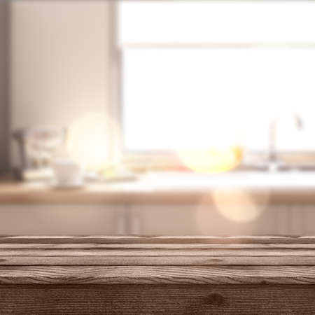 3D render of a rustic table looking out to a defocussed modern kitchen