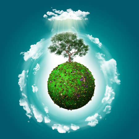 3D render of a grassy globe with a tree and clouds Stock Photo