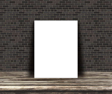 3D render of a mock up of a blank picture on a wooden table leaning against a brick wall