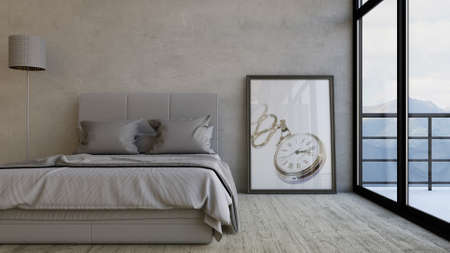 3D render of a Bedroom Stock Photo