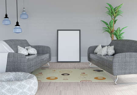 3D render of a blank picture leaning against a wall in a room interior Stock Photo