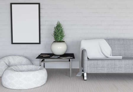 3D render of a modern room interior with blank picture frame Stock Photo