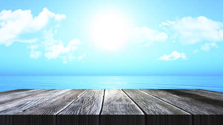 3D render of a vintage wooden table looking out to an ocean landscape