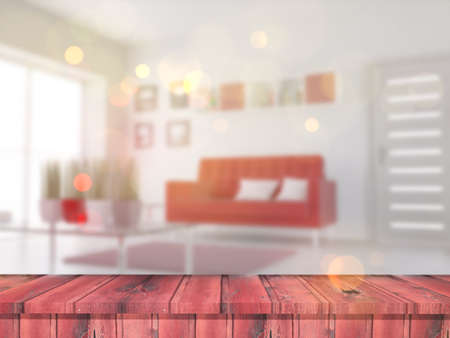 3D render of a wooden table looking out to a defocussed lounge interior Stock Photo - 107679871