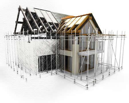 3D house with scaffolding with half in sketch phase