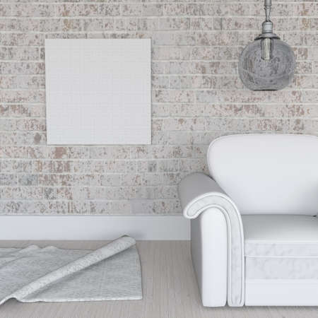 3D render of a blank canvas on grunge brick wall in room interior Stock Photo - 107737660