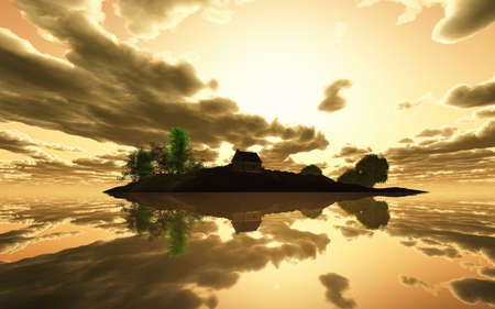3D render of a small house on a tranquil island in the ocean at sunset