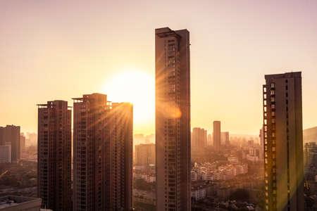 Building sky with sun Standard-Bild