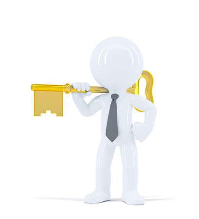 Businessman holds house keys. Isolated on white background
